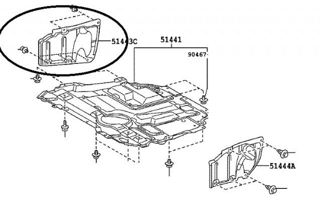 cache lateral moteur droit toyota auris i phase 1 du 03