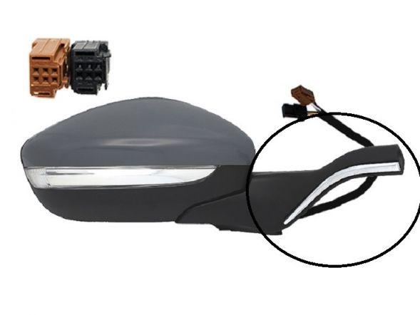 Accéder à la pièce Rétroviseur droit électrique, chauffant, rabattable à peindre + chrome + feu  + sonde